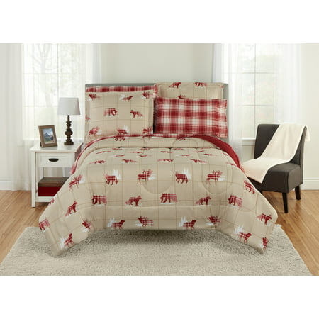 Mainstays Woodland Critter Tan Bed In A Bag Bedding Set