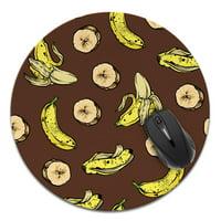 FINCIBO Super Size Round Standard Mouse Pad, Bananas Fun Pattern