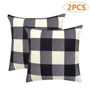 "EEEKit 4/2Pcs Black White Tartan Throw Pillow Covers, Farmhouse Decorative Buffalo Checkers Plaid Throw Pillow Case, Winter Indoor Outdoor Cushion Cover Pillowcase for Sofa Couch Bed, 18""x18""/45x45cm"
