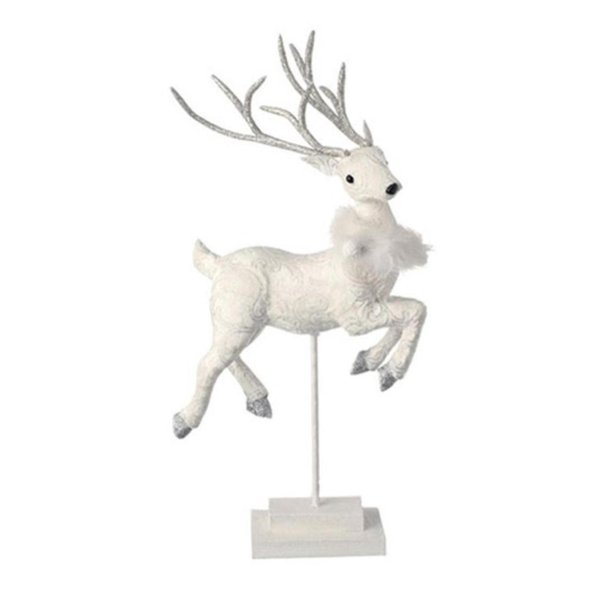 "19"" Snowy Time Glittered White Prancing Fawn Deer Left Facing on Stand Christmas Table Top Figure"