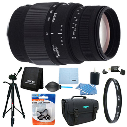 Sigma 70-300mm f/4-5.6 DG Macro Telephoto Zoom Lens for Canon DSLRs Lens Kit Bundle