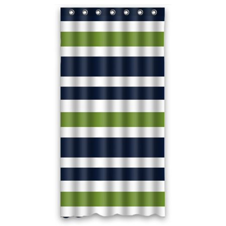 GCKG Navy Blue,Green And White Stripe Waterproof Polyester Shower Curtain Bathroom Deco 36x72 inches (Stall Shower Liner 36 X 72)