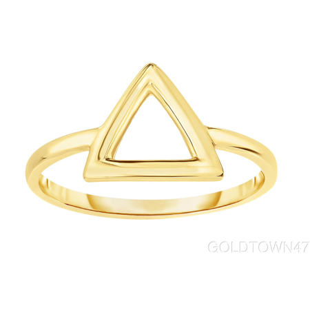14kt Yellow Gold Shiny Square Tube Open 3 Point Triangle Top Fancy Ring 22k Gold Fancy Ring