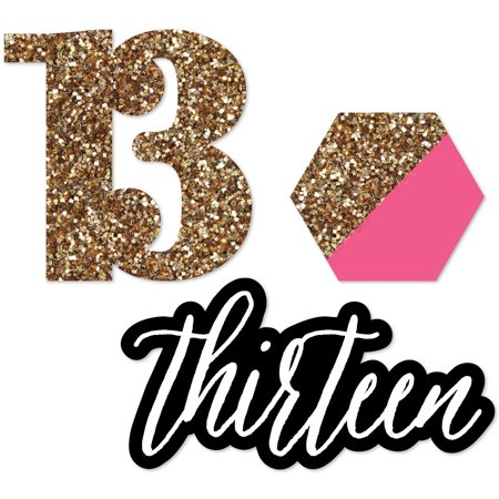 Chic 13th Birthday - Pink, Black and Gold - DIY Shaped Birthday Party Cut-Outs - 24 Count - Girls 13th Birthday Party Ideas