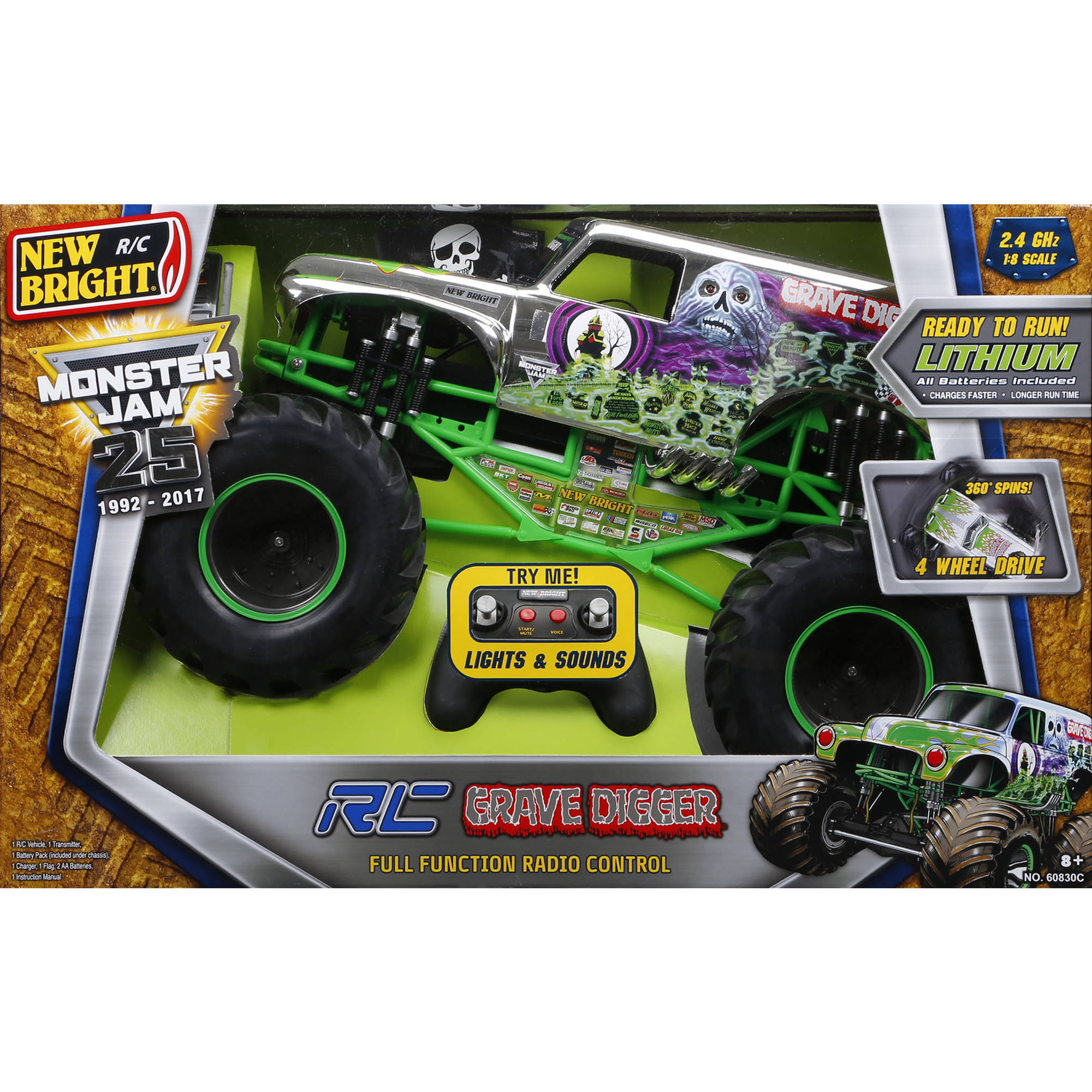 new bright r c f f 12 8 volt 1 8 monster jam grave digger chrome rh walmart com