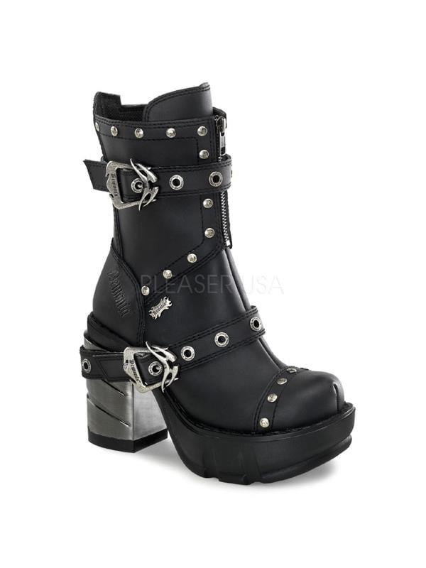 SIN201/BPU Demonia Vegan Boots Womens Blk Pu Size: 8
