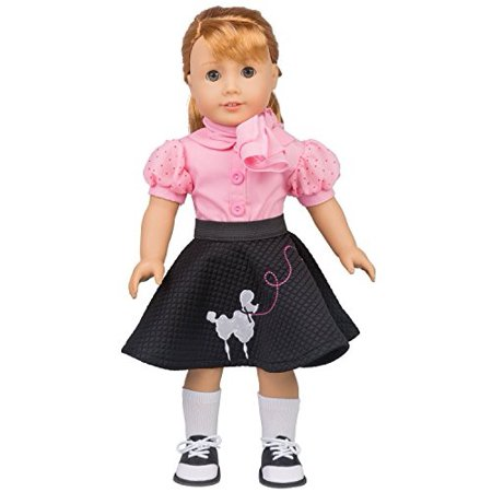 Poodle Skirt Outfit for American Girl Dolls (5pcs: Includes scarf, shirt, skirt, socks, saddle shoes)