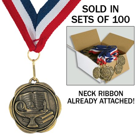Set of 100 Ready to Use Medals - Lamp of Knowledge School Award Medals