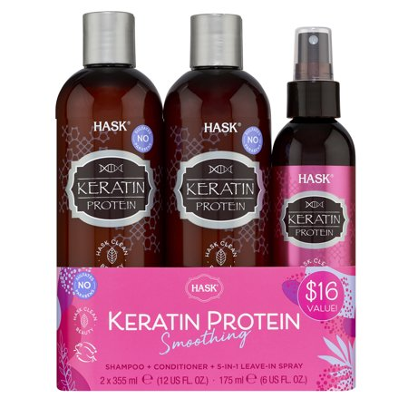 ($16 Value) Hask Keratin Protein Shampoo and Conditioner Set, Sulfate-Free, 3 Piece