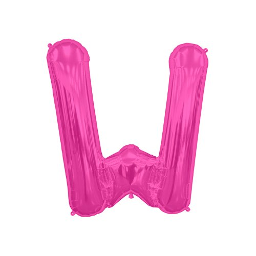 """00527 Letter W Foil Mylar Balloon, 16"""", Magenta, Includes self sealing valve - self-sealing valve prevents the gas from escaping after it's inflated. By NorthStar"""