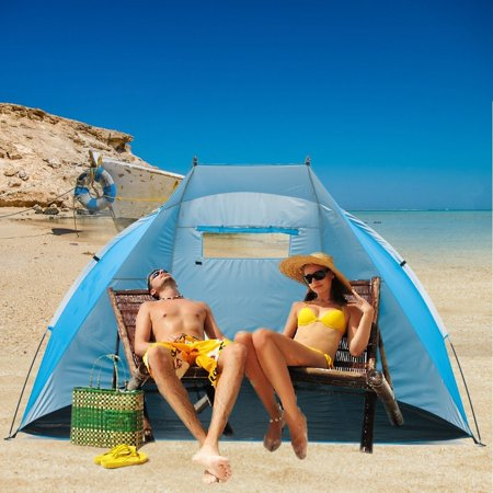 iCorer Extra Large Outdoor Portable EasyUp Beach Cabana Tent Sun Shelter Sunshade, Light Blue, 94.5