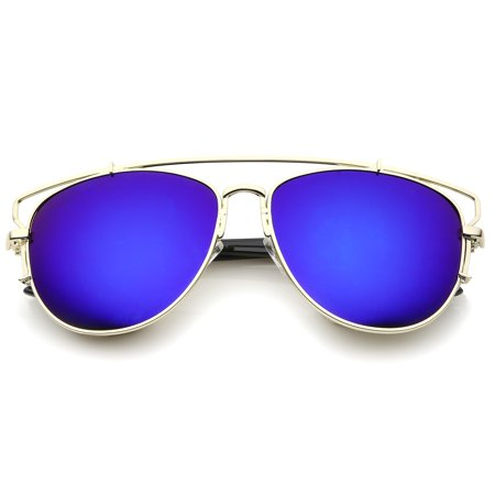 sunglassLA - Modern Full Metal Crossbar Open Design Colored Mirror Aviator Sunglasses - (Designer Mirrored Aviator Sunglasses)