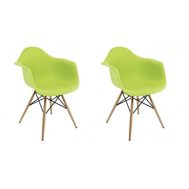 Lime Green Plastic Armchair with Wood Eiffel Legs Contemporary Retro Molded Style Lime Green Accent Plastic Dining... by Overstock