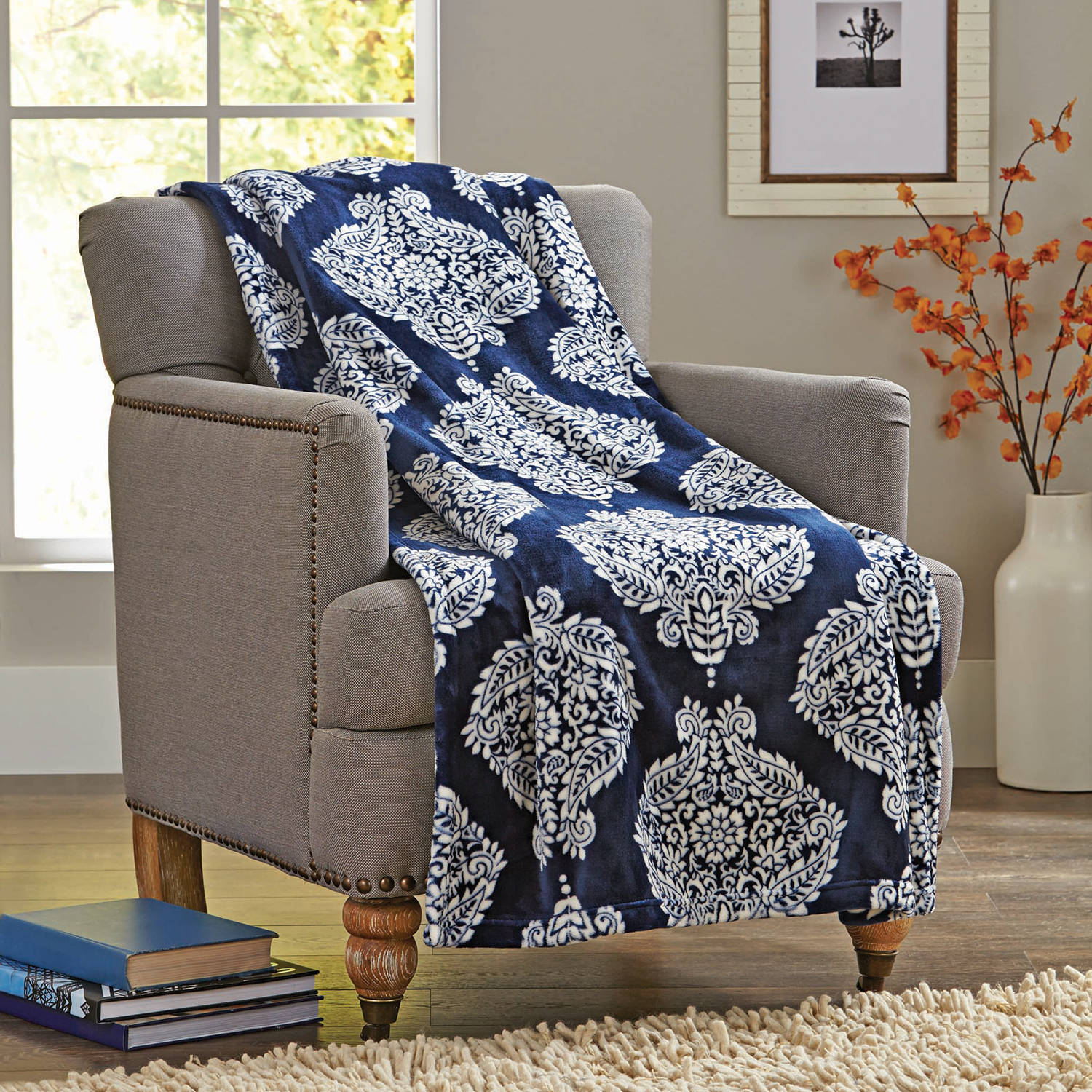 "Better Homes and Gardens Velvet Plush 50"" x 70"" Throw, Indigo Paisley Medallion"