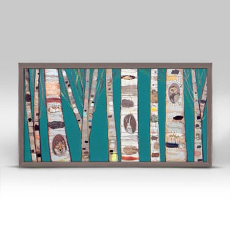 Oopsydaisy Teal Birch Trees Mini Framed Canvas (Birch Mint)