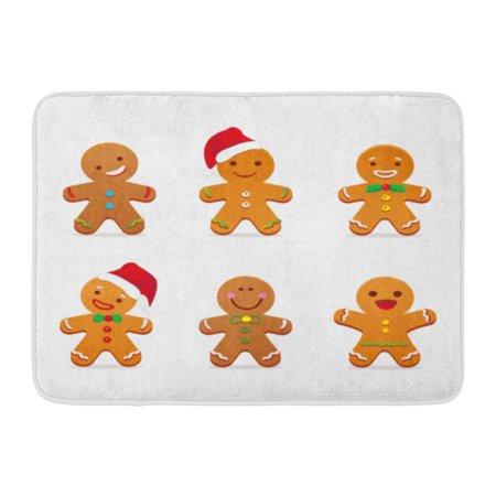 KDAGR Brown Christmas Gingerbread Man Xmas Cute Cartoon Food Character Doormat Floor Rug Bath Mat 23.6x15.7 inch
