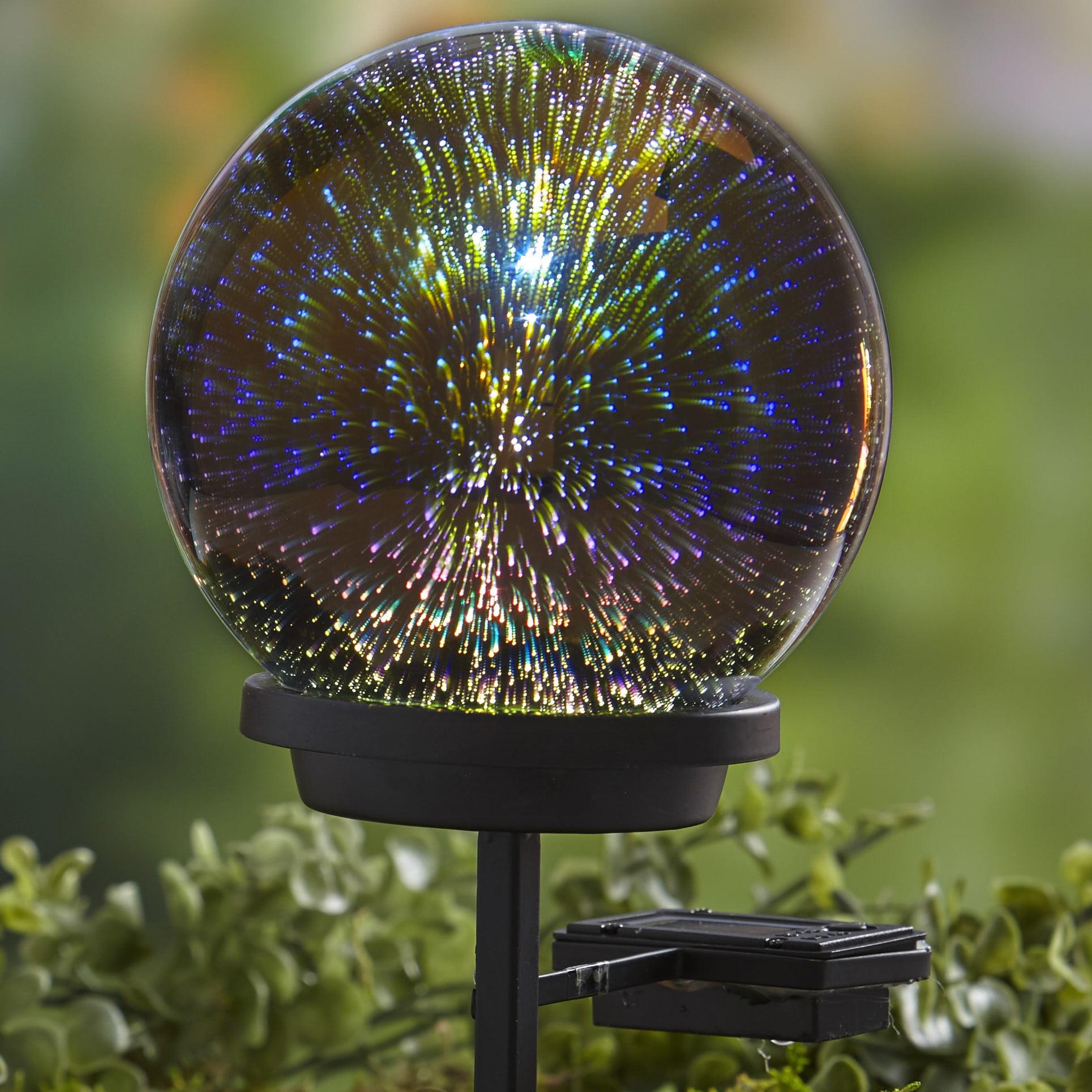 3D Effect Solar Glass Gazing Ball with Stake - Outdoor Garden Accent -  Walmart.com - Walmart.com
