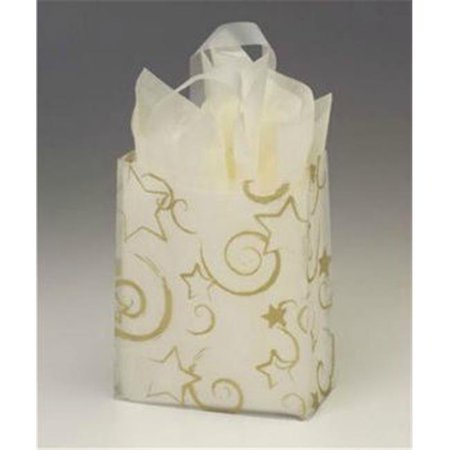 Bags   Bows By Deluxe 268 080410 Strc Stars Clear Frosted Flex Loop Shoppers   Case Of 100
