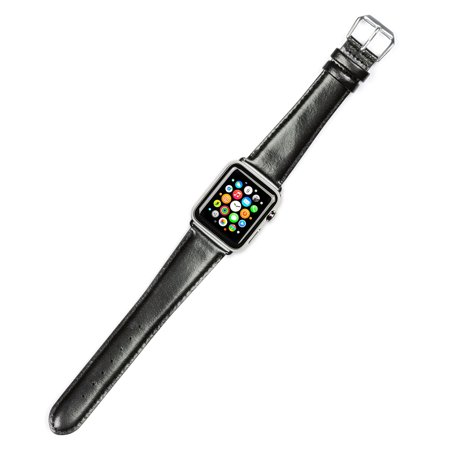 Apple Watch Strap - Smooth Leather Watch Band - Black - Fits 38mm Series 1 & 2 Apple Watch [Silver Adapters]