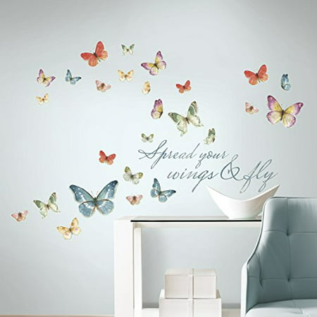 Roommates lisa audit butterfly quote peel and stick wall for Butterfly wall mural stickers