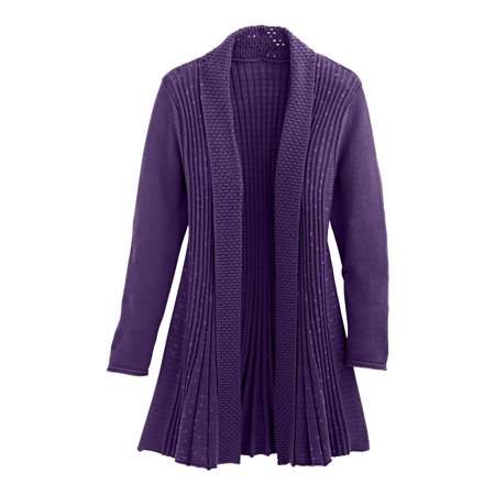 Cardigans for Women Long Sleeve Swingy Sequin Knit Cardigan Sweater W/Pocket-Purple (Medium) (Sequin Trim Sweater)