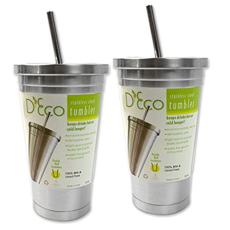 Stainless Steel Tumbler with Straw- Hot and Cold Double Wall Drinking Mug- 16 oz. - Set of 2 by Deco