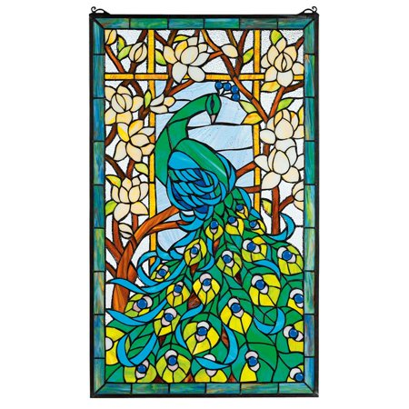 Diamond Designed Stained Glass (Design Toscano Peacock's Paradise Stained Glass Window )