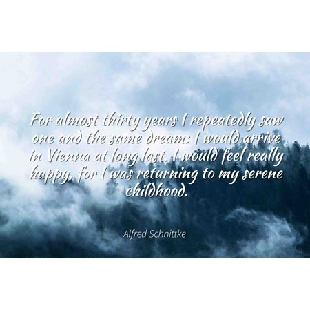Alfred Schnittke - Famous Quotes Laminated POSTER PRINT 24x20 - For almost thirty years I repeatedly saw one and the same dream: I would arrive in Vienna at long last. I would feel really happy, for (Thirty One Order Tracking)