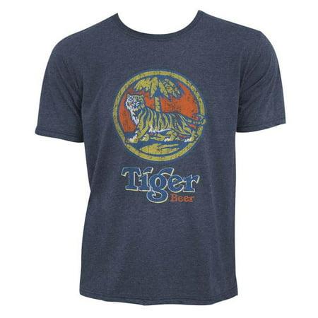 Tiger Beer 44941L Mens Distressed Logo Denim Tee Shirt, Blue - Large Denim Distressed T-shirt