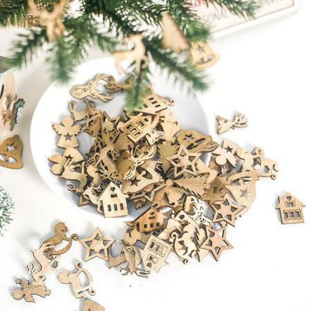 100PCS DIY Unfinished Wooden Cutout Christmas Decoration Embellishments Ornaments Art Craft ()