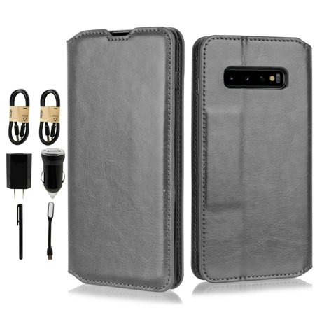 "~Value Pack~ for 6.4"" Samsung Galaxy S10 Plus Deluxe PU Leather Foldable Kickstand Hybrid Pouch Pocket ID and Credit Card Slot Shockproof Flip Bumper Magnetic Wallet Phone Case + [Black]"