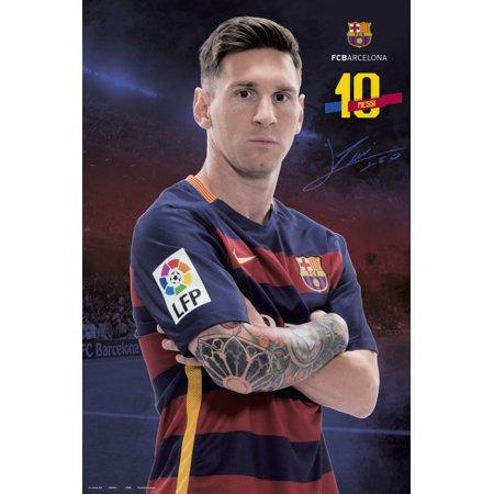 Fc Barcelona   Sports Poster   Print  Lionel Messi   Tattoo   Size  24   X 36     Poster   Poster Strip Set