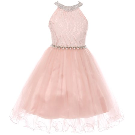 Little Girl Gorgeous Pearl Halter Pageant Gown Party Flower Girl Dress Blush 4 CC 5052 BNY Corner - Gorgeous Girls Dresses