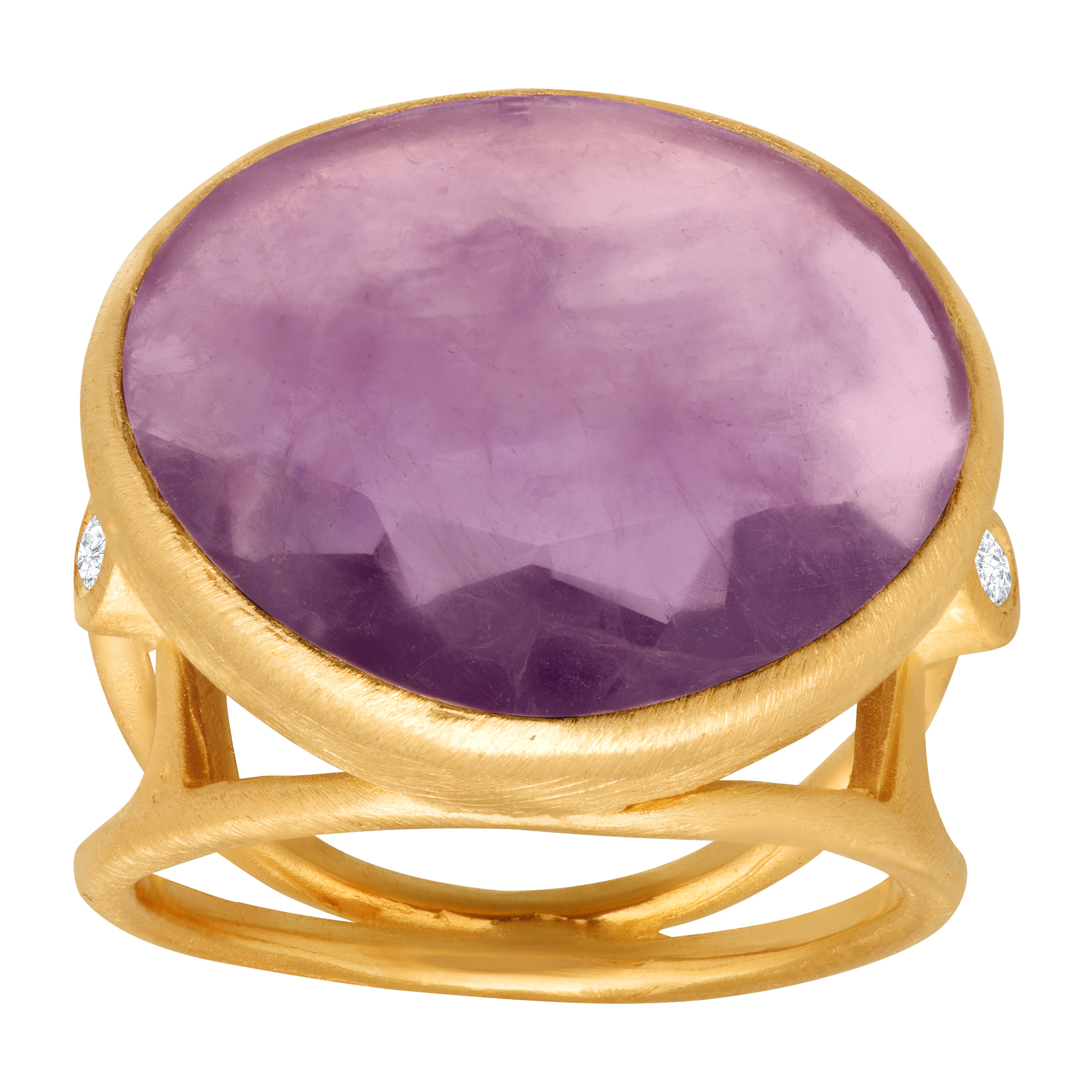Piara 8 7 8 ct Natural Amethyst Ring with Diamond Accents in 18kt Gold-Plated Sterling Silver by Richline Group