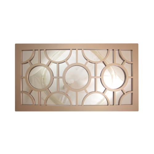 "25.5"" Oyster Gray Geometrical Circles Decorative Rectangular Wall Mirror"