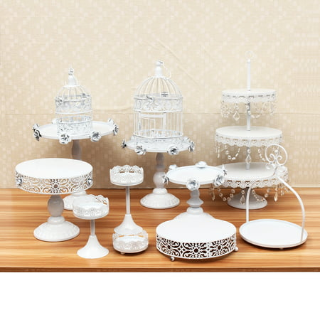 Moaere 12Pcs Antique Metal Cake Stand, Classical Round Cupcake Holder, Cake Plate Tray, Cookie Pedestal Display Tower, for Wedding Birthday Party ()