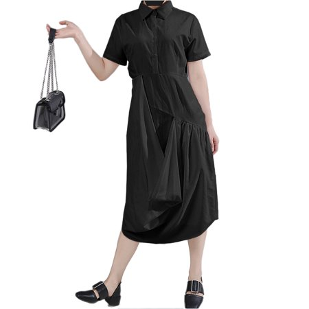 VONDA Women's Solid Cotton Dress Casual Lapel Short Sleeve Shirtdress - image 3 de 8