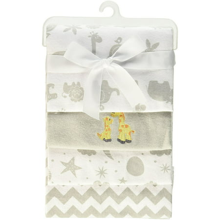 - Spasilk 4 Pack Cotton Flannel Receiving Blankets, Grey Animals