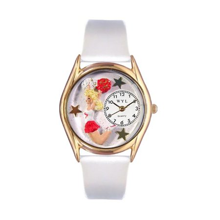 Whimsical Watches Kids C0820013 Classic Gold Cheerleader White Leather And Goldtone Watch