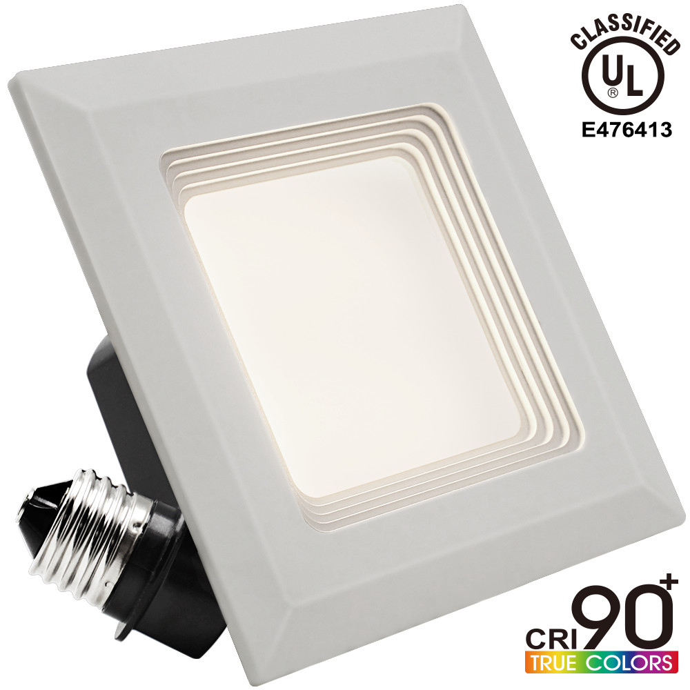 9W 4 inch High CRI 90+ Dimmable Retrofit LED Square Recessed Lighting Fixture, UL-classified, 60W Equivalent 2700K Warm... by