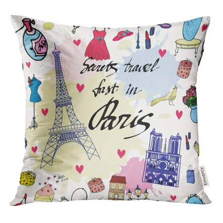 STOAG Pink Beauty Paris Glamour Pattern Watercolor Brush Cute Drawing Throw Pillowcase Cushion Case Cover 16x16 (Brushed Polyester Cover)