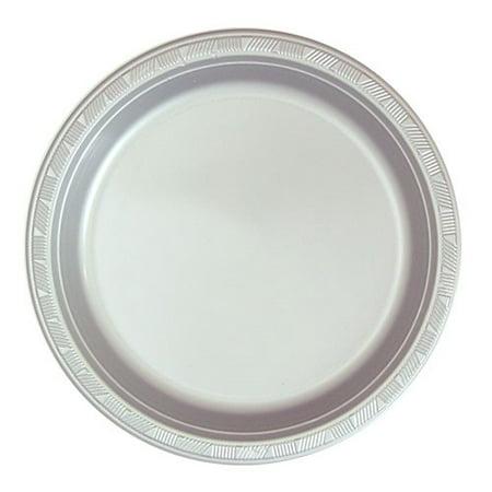 "Hanna K Plastic Plates, Round, 9"" Silver, 50 Ct"