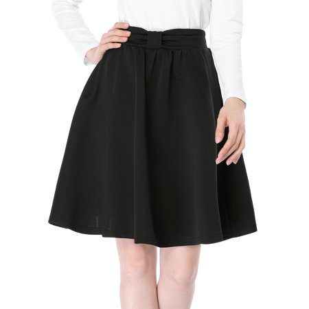Women's Elastic Waistband Above Knee Pleated Bow Fla Skirt (Bow Back Skirt)