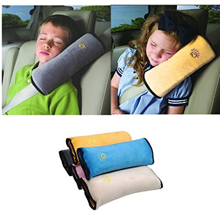 Baby Car Pillow For Safety [Gray] Adjustable Belt Shoulder Pad Pillow For Kids &
