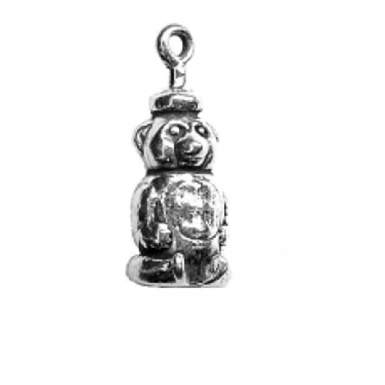 Sterling Silver Womens 1mm Box Chain 3D Small Walking Bear Head Down Pendant Necklace