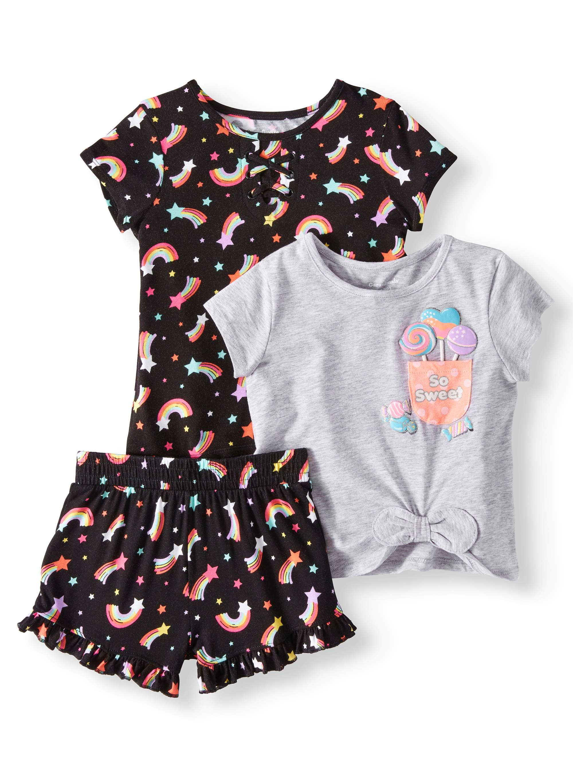 Lace-Up Top, Side-Tie Top, & Printed Ruffle Shorts, 3pc Outfit Set (Toddler Girls)