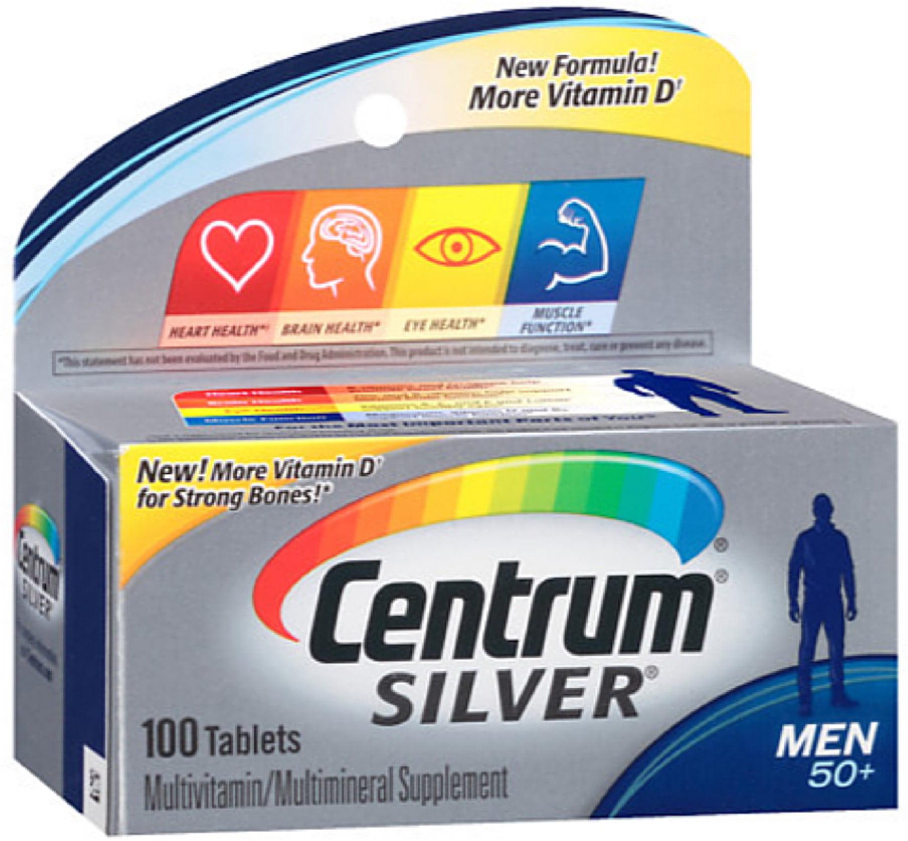 Centrum Silver Men's 50+ Tablets 100 Tablets (Pack of 4)