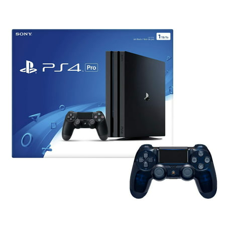 Playstation 4 Pro 1TB Console with Extra 500 Million Limited Edition Translucent Blue Dualshock 4 Wireless Controller (Nik Color Effects Pro 4 Select Edition)