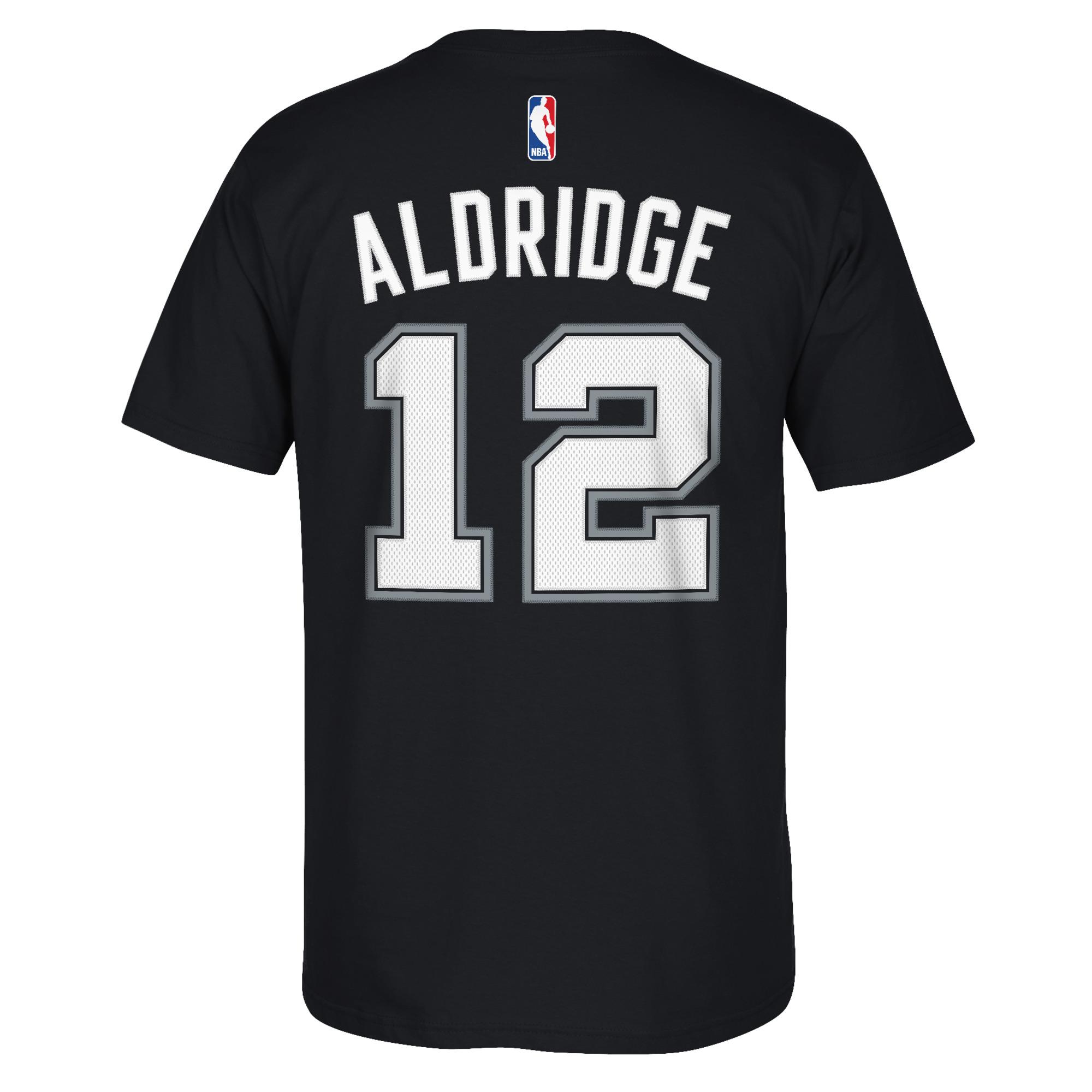 San Antonio Spurs LaMarcus Aldridge Adidas NBA Men Player T Shirt Black S