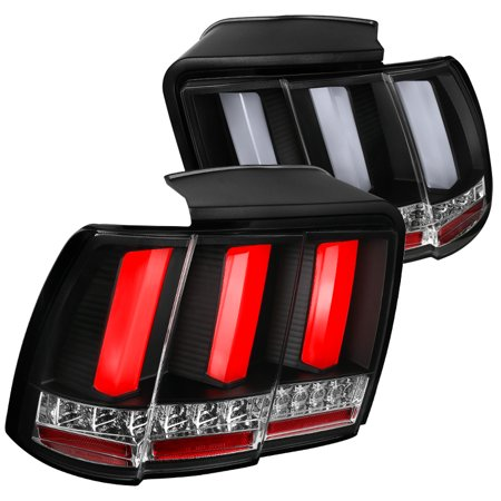 Spec-D Tuning For 1999-2004 Ford Mustang Black Clear Sequential Led Tail Lights (Left+Right) 1999 2000 2001 2002 2003 2004